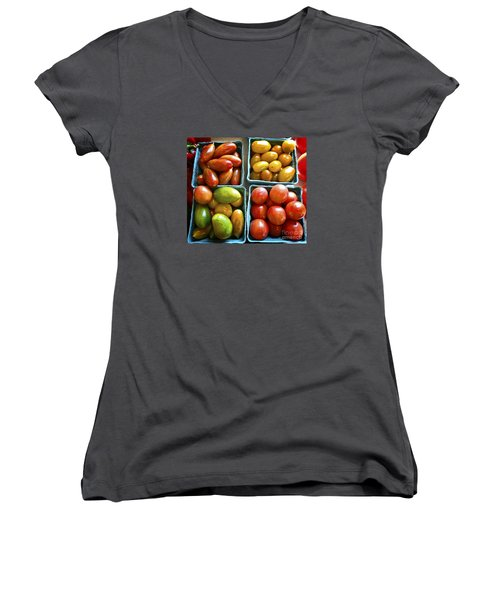 Baby Tomato Medley Women's V-Neck T-Shirt (Junior Cut) by Dee Flouton