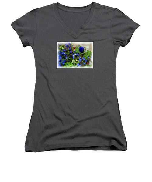 Women's V-Neck T-Shirt (Junior Cut) featuring the painting Babys Got The Blues by Patricia Griffin Brett