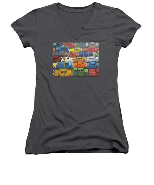 Women's V-Neck T-Shirt (Junior Cut) featuring the painting Back And Forth by Glenn Quist
