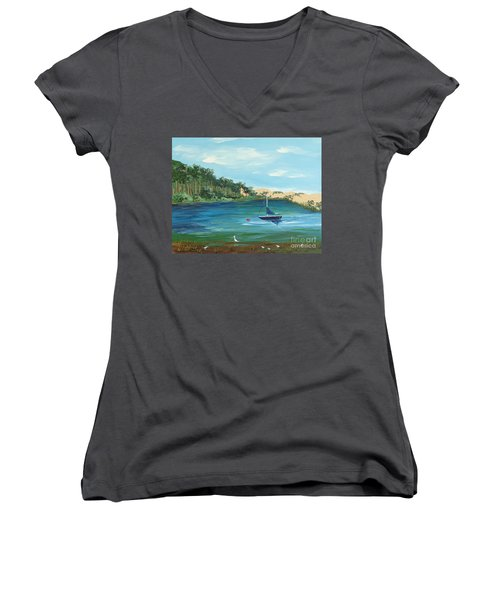 Women's V-Neck T-Shirt (Junior Cut) featuring the painting Back Bay From Back Bay Inn Los Osos Ca by Katherine Young-Beck