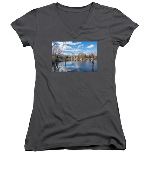 Women's V-Neck T-Shirt featuring the photograph Back Creek by Charles Kraus