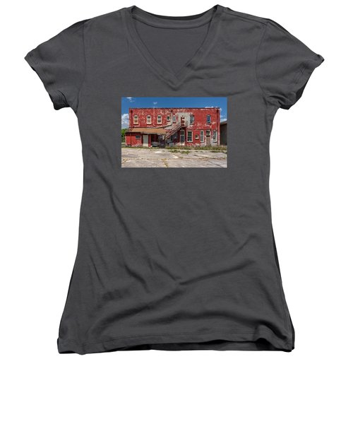 Women's V-Neck T-Shirt (Junior Cut) featuring the photograph Back Lot by Christopher Holmes