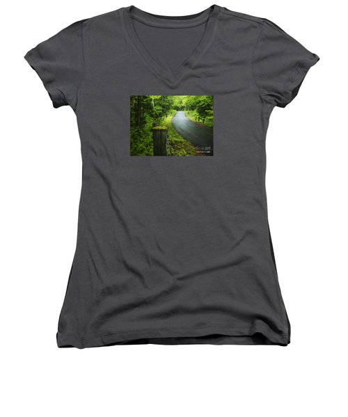 Back Road Women's V-Neck T-Shirt (Junior Cut) by Alana Ranney