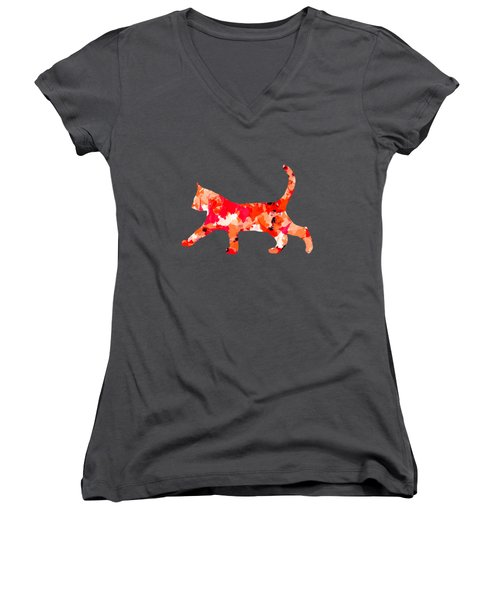Background Colour Choice Cat Women's V-Neck T-Shirt (Junior Cut) by Barbara Moignard