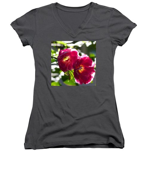 Backlit Roses In My Garden Women's V-Neck T-Shirt (Junior Cut) by Anna Porter