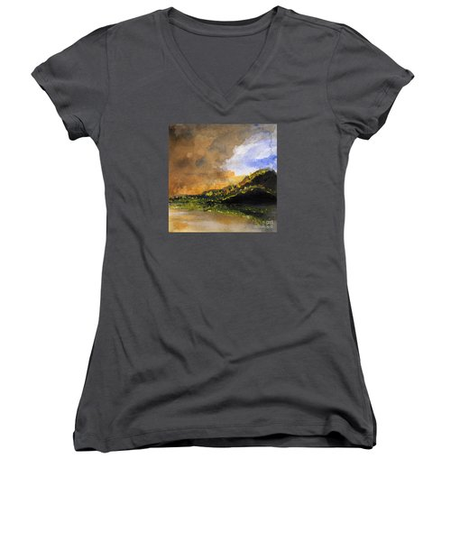 Bad Night Coming Cross The Bay Women's V-Neck T-Shirt (Junior Cut) by Randy Sprout