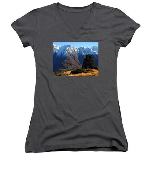 Baettlihorn In Valais, Switzerland Women's V-Neck T-Shirt (Junior Cut) by Ernst Dittmar