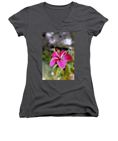Bahamian Flower Women's V-Neck (Athletic Fit)