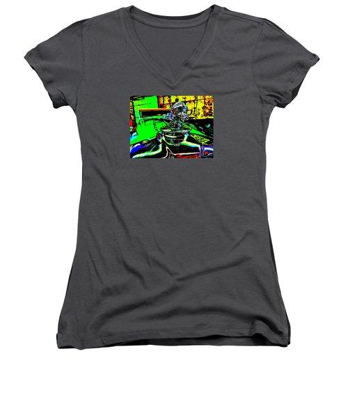 Bahre Car Show II 25 Women's V-Neck T-Shirt (Junior Cut) by George Ramos