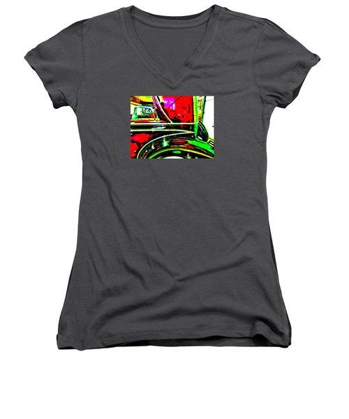 Bahre Car Show II 26 Women's V-Neck T-Shirt (Junior Cut) by George Ramos
