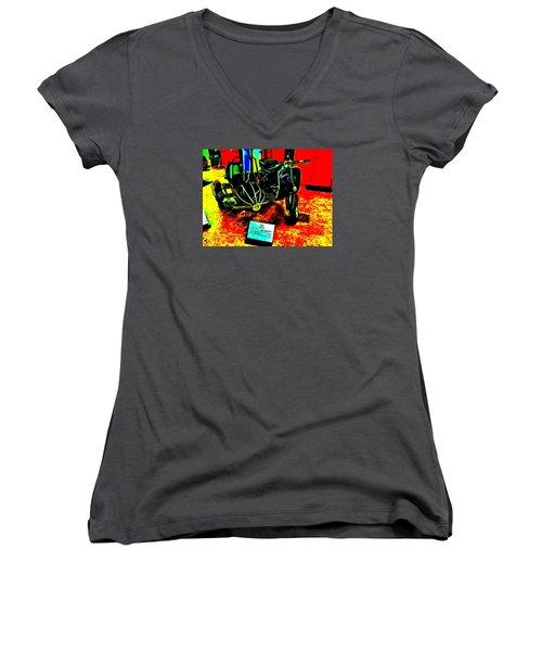 Bahre Car Show II 33 Women's V-Neck T-Shirt (Junior Cut) by George Ramos