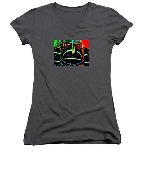 Bahre Car Show II 41 Women's V-Neck T-Shirt (Junior Cut) by George Ramos