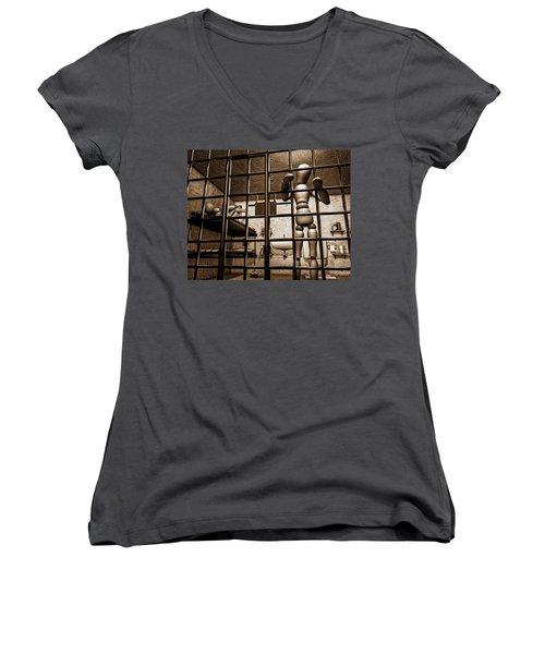 Bail Denied  Women's V-Neck T-Shirt (Junior Cut) by Bob Orsillo