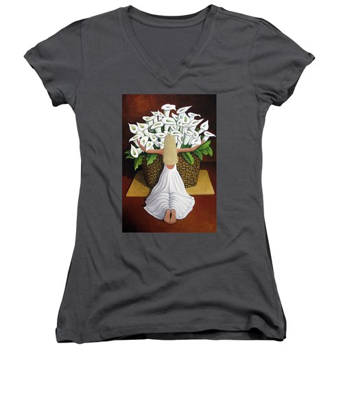 Baileyrae Lilies Women's V-Neck