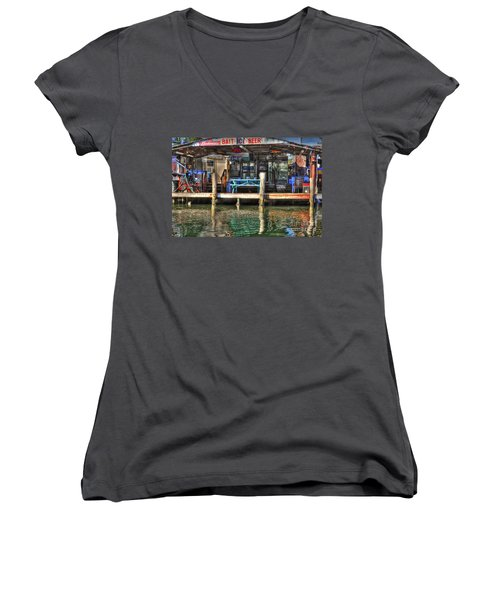 Bait Ice  Beer Shop On Bay Women's V-Neck T-Shirt