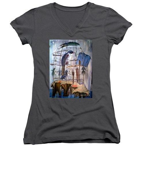 Bajo Mis Propias Alas Women's V-Neck T-Shirt (Junior Cut) by Jorge L Martinez Camilleri