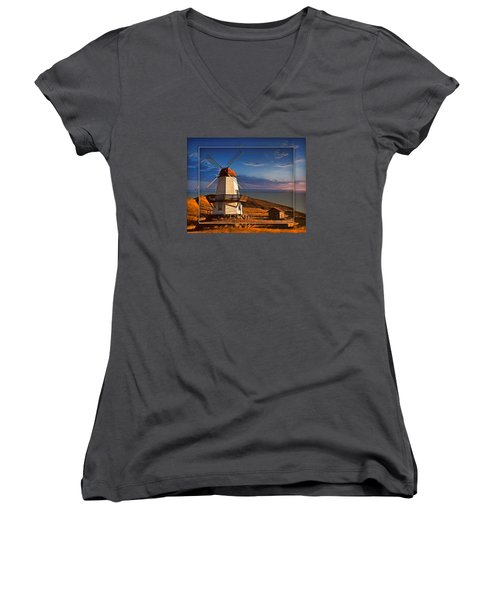 Baker City Windmill_1a Women's V-Neck (Athletic Fit)
