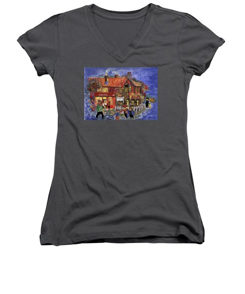 Bakers Inn Winter Holiday Landscape Women's V-Neck T-Shirt