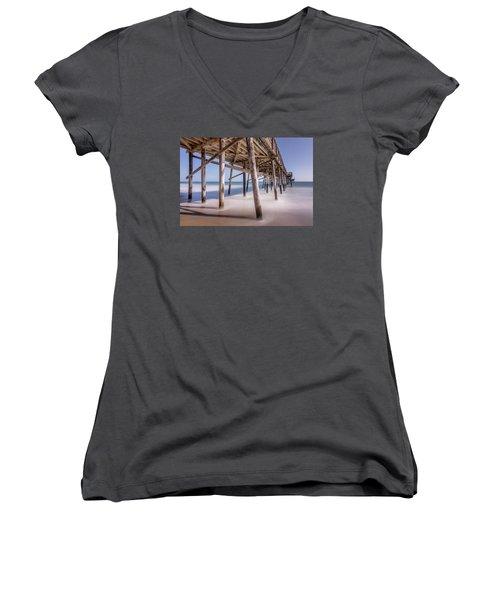 Women's V-Neck T-Shirt (Junior Cut) featuring the photograph Balboa Pier by Jeremy Farnsworth