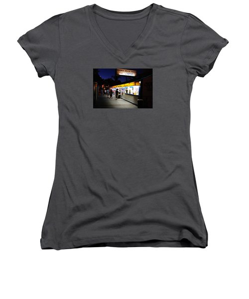 Balboa Pier Nghts Women's V-Neck T-Shirt (Junior Cut) by James Kirkikis