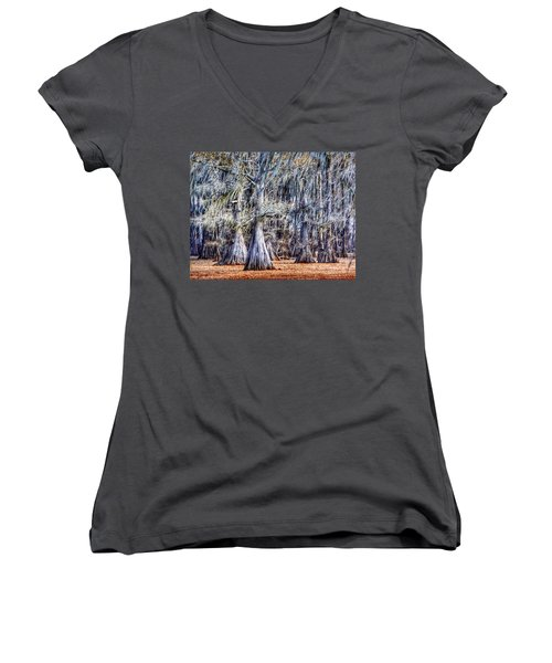 Bald Cypress In Caddo Lake Women's V-Neck T-Shirt (Junior Cut) by Sumoflam Photography