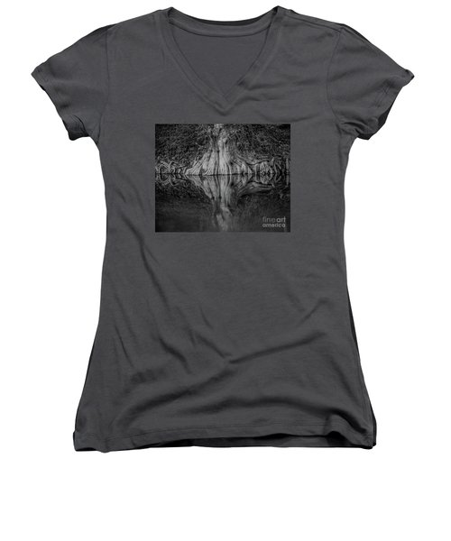 Bald Cypress Reflection In Black And White Women's V-Neck