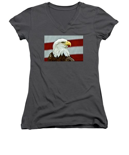 Bald Eagle And Old Glory Women's V-Neck