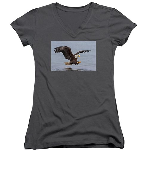 Bald Eagle Diving For Fish In Falling Snow Women's V-Neck
