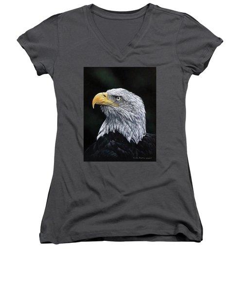 Bald Eagle Women's V-Neck T-Shirt (Junior Cut) by Linda Becker
