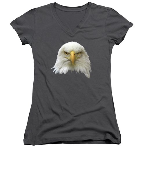 Women's V-Neck T-Shirt (Junior Cut) featuring the photograph Bald Eagle by Shane Bechler