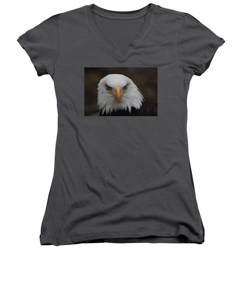 Bald Eagle Stare  Women's V-Neck (Athletic Fit)