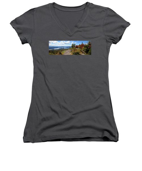 Bald Mountain Autumn Panorama Women's V-Neck