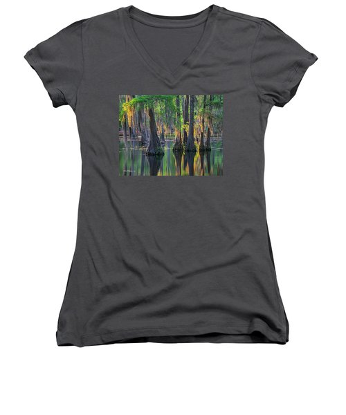 Baldcypress Trees, Louisiana Women's V-Neck T-Shirt