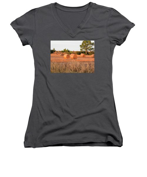 Women's V-Neck T-Shirt (Junior Cut) featuring the photograph Bales by Rosalie Scanlon