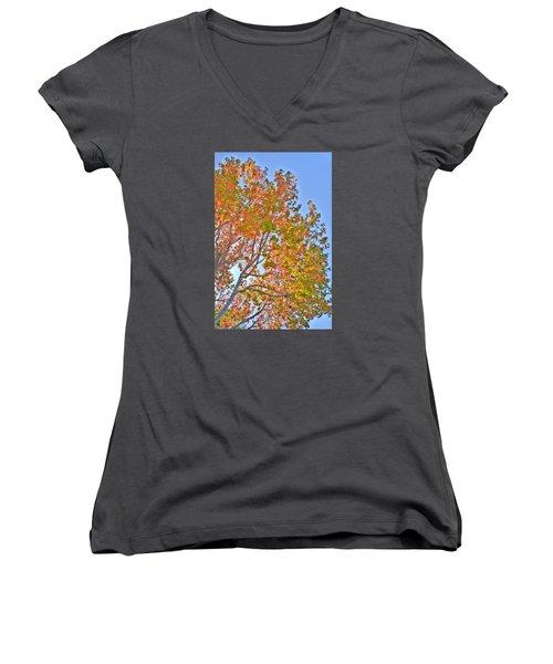 Ball To  The Wall Fall Women's V-Neck T-Shirt (Junior Cut) by Derek Dean