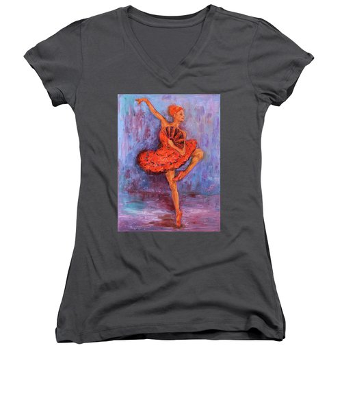 Ballerina Dancing With A Fan Women's V-Neck