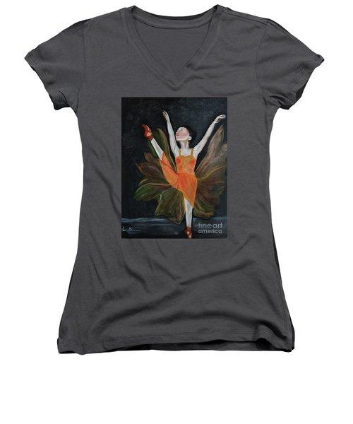 Ballet Dancer 1 Women's V-Neck (Athletic Fit)