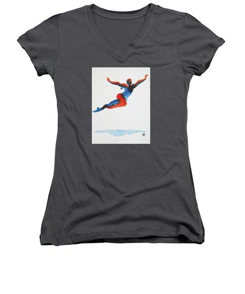 Ballet Dancer 1 Flying Women's V-Neck T-Shirt (Junior Cut) by Shungaboy X