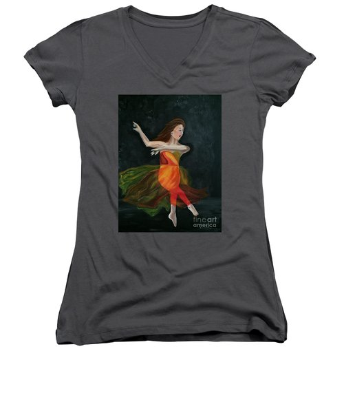 Women's V-Neck T-Shirt (Junior Cut) featuring the painting Ballet Dancer 2 by Brindha Naveen