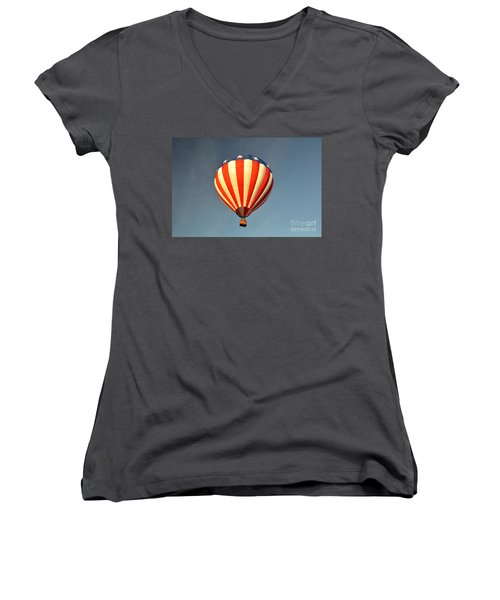 Women's V-Neck T-Shirt (Junior Cut) featuring the photograph Ballons Over Tampa by John Black