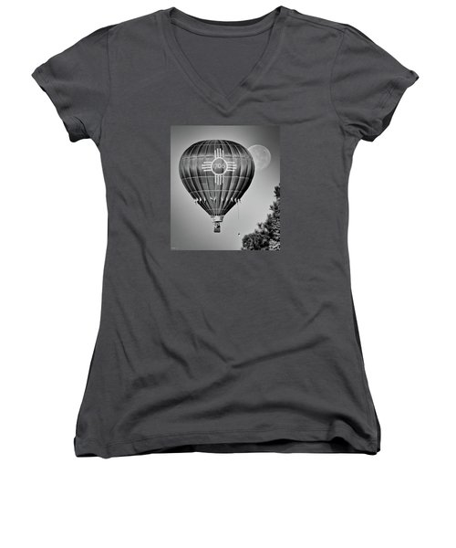 Women's V-Neck T-Shirt (Junior Cut) featuring the photograph Ballunar Eclipse by Kevin Munro