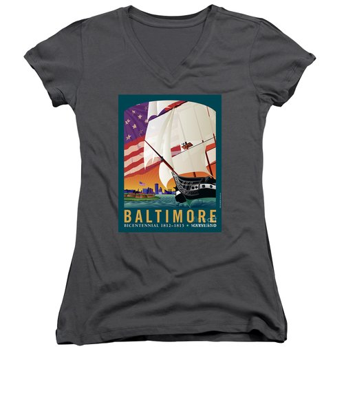 Baltimore - By The Dawns Early Light Women's V-Neck (Athletic Fit)