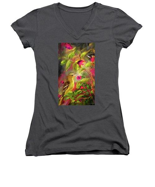 Baltimore Oriole Art- Baltimore Female Oriole Art Women's V-Neck T-Shirt