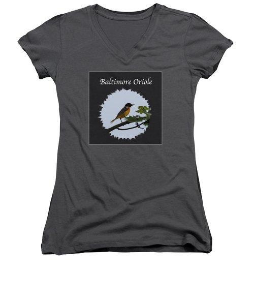Baltimore Oriole  Women's V-Neck T-Shirt (Junior Cut) by Jan M Holden