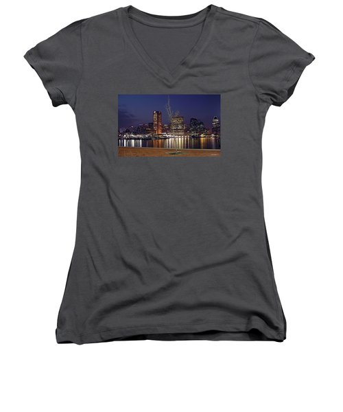 Women's V-Neck T-Shirt (Junior Cut) featuring the photograph Baltimore Reflections by Brian Wallace