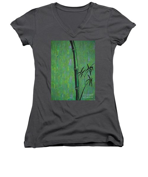 Women's V-Neck T-Shirt (Junior Cut) featuring the painting Bamboo by Jacqueline Athmann