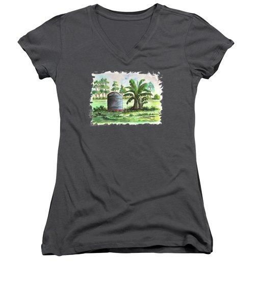 Banana And Tank Women's V-Neck T-Shirt (Junior Cut) by Anthony Mwangi