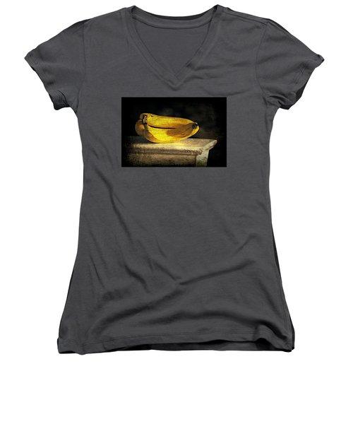 Women's V-Neck T-Shirt (Junior Cut) featuring the photograph Bananas Pedestal by Diana Angstadt