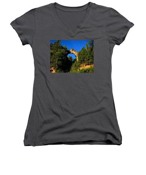 Beneath Arch Rock Women's V-Neck T-Shirt (Junior Cut) by Keith Stokes