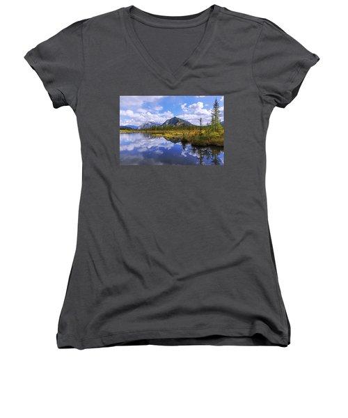 Women's V-Neck T-Shirt (Junior Cut) featuring the photograph Banff Reflection by Chad Dutson